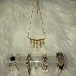 Woman's gold color jewelry bundle